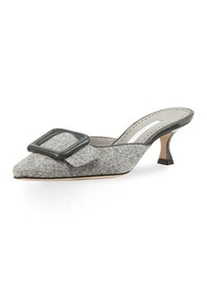 Manolo Blahnik Maysale Tweed 50mm Mule