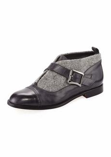 Manolo Blahnik Melindra Tweed and Leather Bootie