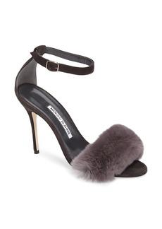 Manolo Blahnik Mincha Genuine Rabbit Fur Sandal (Women)