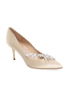 Manolo Blahnik' Nadira' Crystal Embellished Pointy Toe Pump (Women)