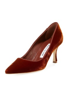 Manolo Blahnik Newcio 70mm Velvet Pointed-Toe Pump
