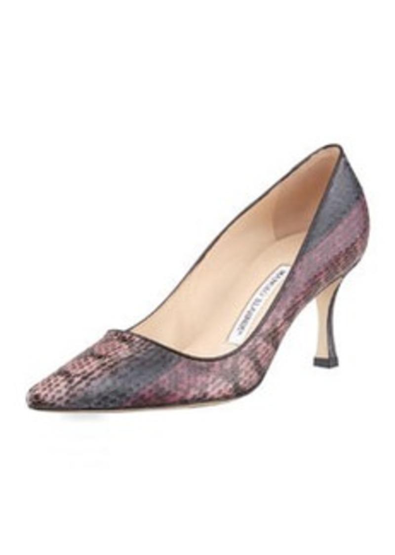 Manolo Blahnik Newcio Snakeskin Pointed-Toe Pump, Pink/Brown
