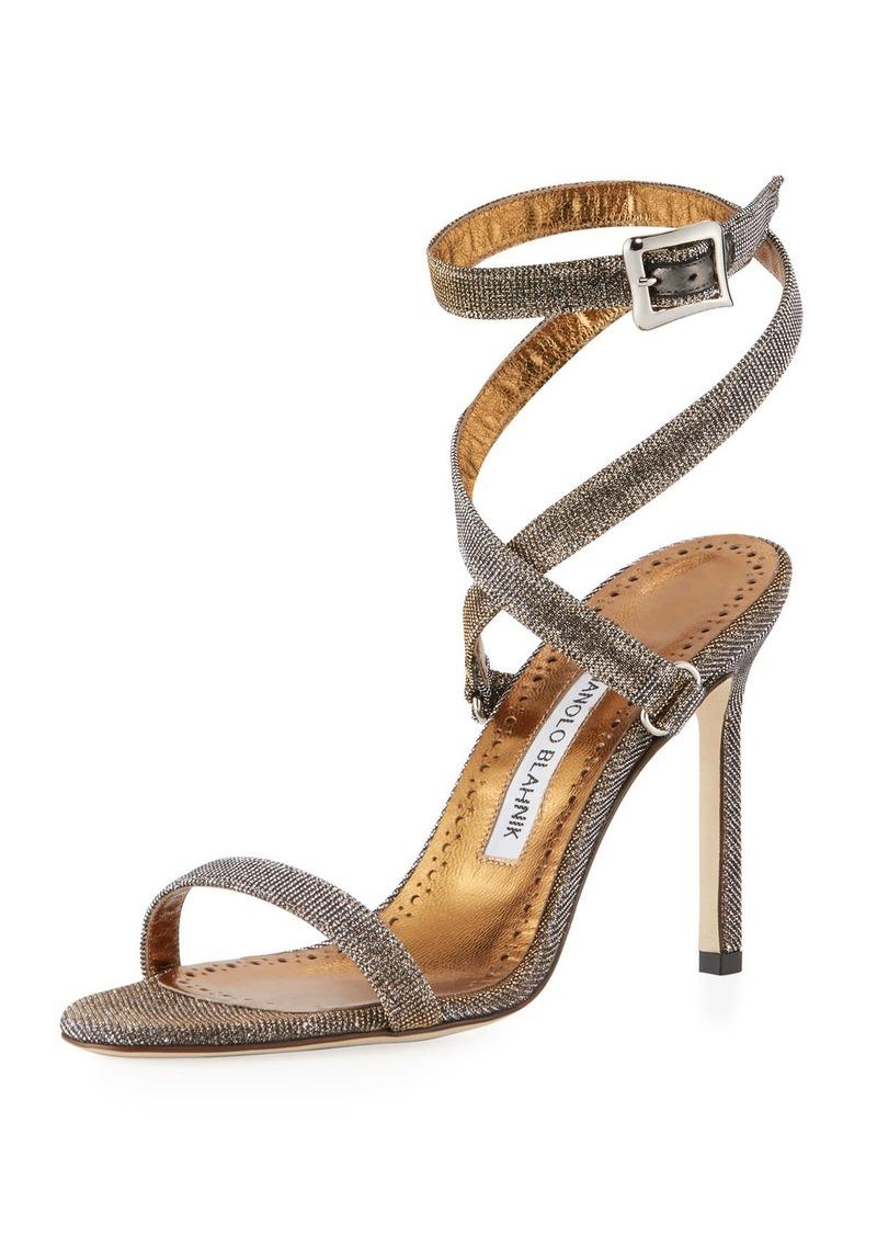 0a4094a1797 Manolo Blahnik Newfi Metallic Fabric Sandal