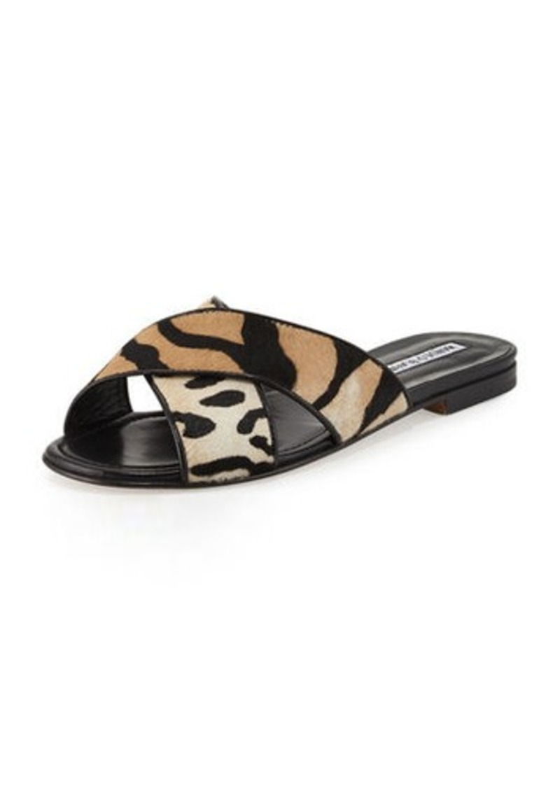 Manolo Blahnik Otawi Calf-Hair Flat Slide Sandal