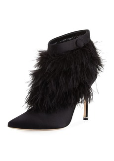 Manolo Blahnik Oterala Satin & Feather Bootie