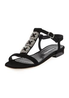 Manolo Blahnik Ottolamod Jeweled Suede T-Strap Flat Sandal