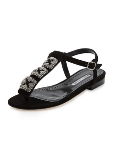 Manolo Blahnik Ottolina Crystal T-Strap Sandal