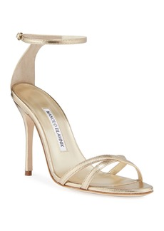 Manolo Blahnik Paloma Metallic Strappy Sandals