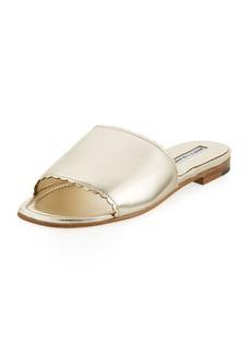 Manolo Blahnik Arcara Metallic Flat Slide Sandal