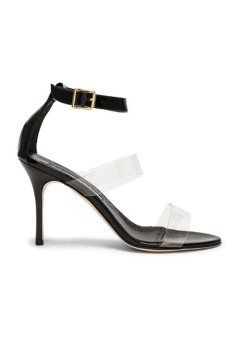 Manolo Blahnik Patent Leather & PVC Kaotic 90 Sandals