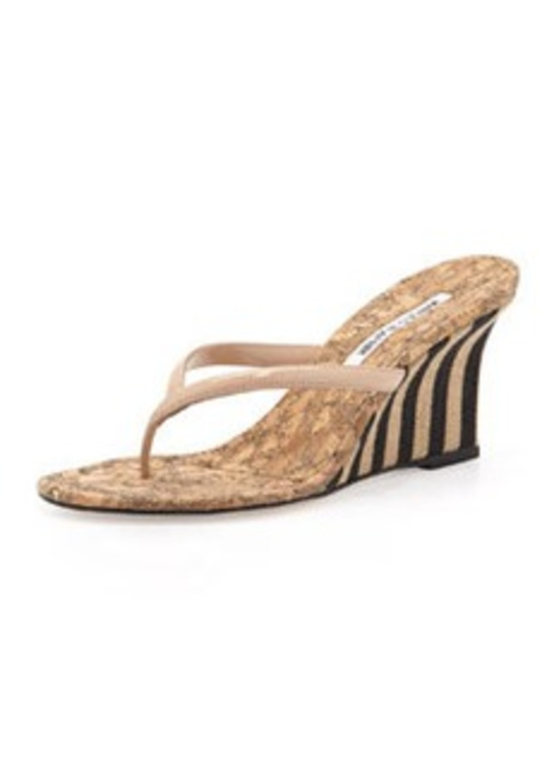 Manolo Blahnik Patent Thong Wedge Sandal, Nude
