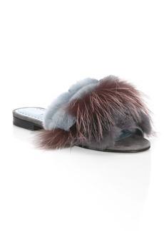 Manolo Blahnik Pelosusrafo Fur & Suede Slides