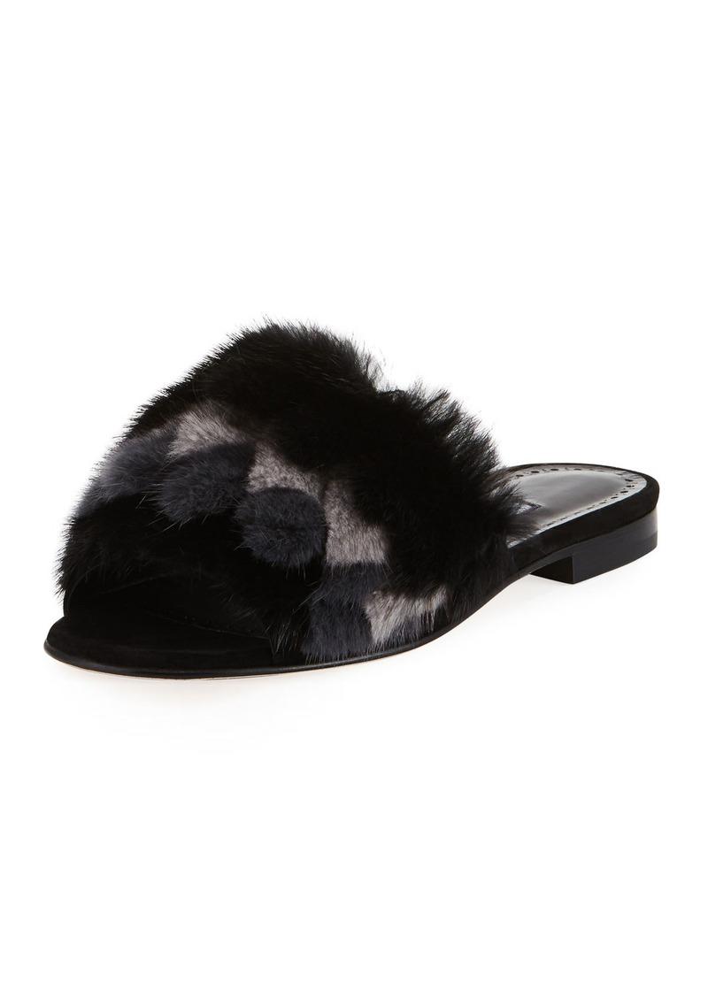 Manolo Blahnik Pelususmin Mink Fur Flat Slide Sandal