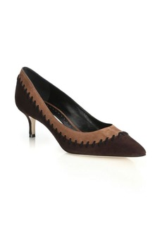 Manolo Blahnik Picatrina Point-Toe Suede Pumps