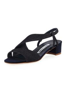 Manolo Blahnik Picciolino Linen Asymmetric Sandals