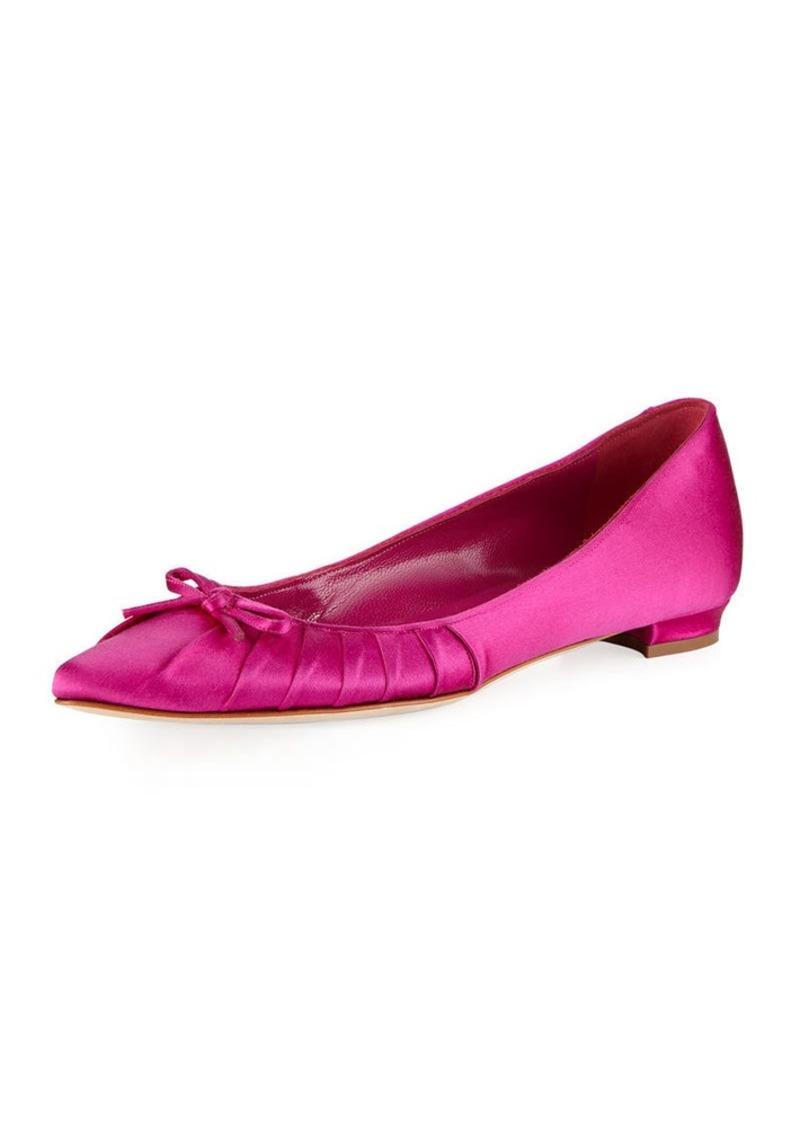 17c19bea6dd0 SALE! Manolo Blahnik Manolo Blahnik Pleata Point-Toe Satin Ballet Flats