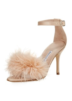 Manolo Blahnik Plumas Feather-Embellished Sandal