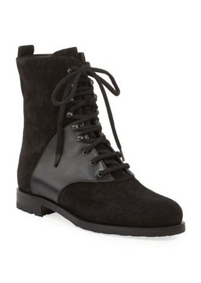 Manolo Blahnik Pocola Suede and Leather Boots