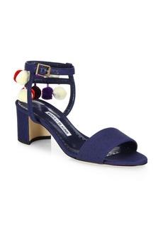 Manolo Blahnik Pompom Linen Ankle-Strap Sandals