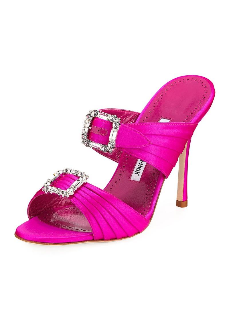 Manolo Blahnik Pow Two-Band Embellished Sandals