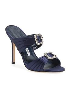 Manolo Blahnik Pow Two-Band Embellished Sandals