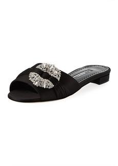 Manolo Blahnik Pralin Satin Flat Slide Sandal