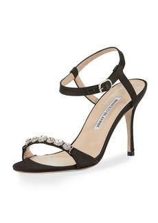 Manolo Blahnik Priscaba Jeweled Satin Sandal
