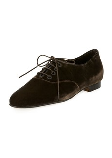 Manolo Blahnik Pruneta Velvet Lace-Up Oxford