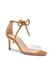 Manolo Blahnik PVC & Suede Estro 70 Sandals
