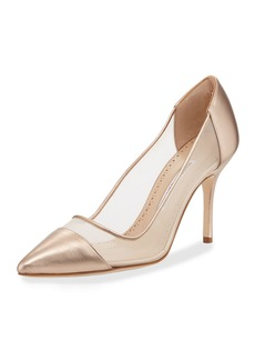 Manolo Blahnik Rene Metallic Mesh Pumps