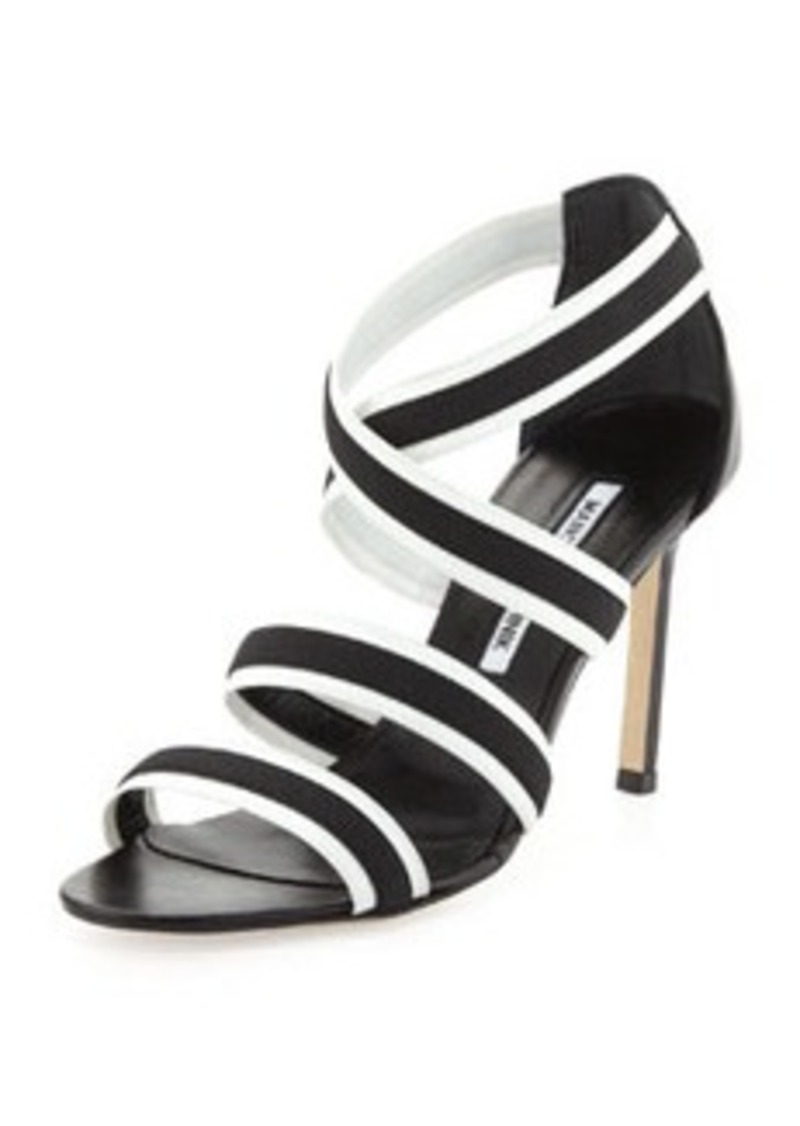 Manolo Blahnik Rigata Bicolor Strappy Stretch Sandal
