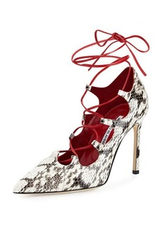 Manolo Blahnik Rogustta Snakeskin Lace-Up Pump