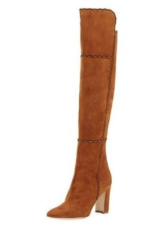 Manolo Blahnik Rubiohi Stitched Suede Knee Boot