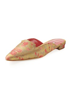 Manolo Blahnik Ruby Brocade Point-Toe Flat Mule Slide