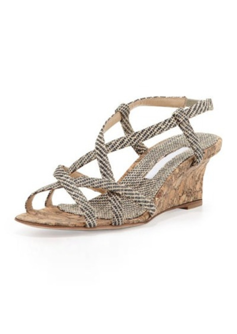 Manolo Blahnik Scarsowe Woven Cork Wedge Sandal, Black/Cream