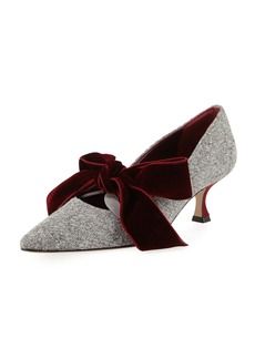 Manolo Blahnik Serba Velvet Bow Tweed Pump