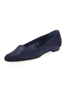 Manolo Blahnik Sharif Calf Hair Smoking Slipper