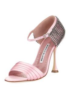 Manolo Blahnik Sidina Satin Ankle-Strap Sandal