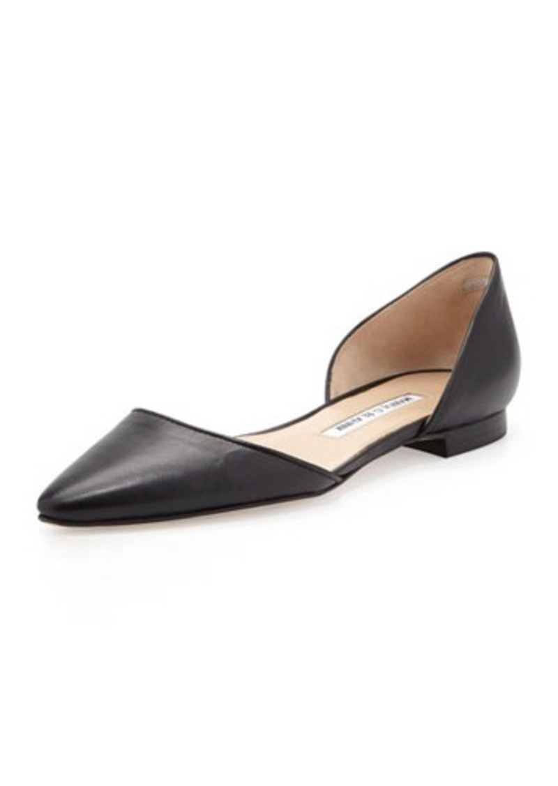 Manolo Blahnik Soussa Point-Toe d'Orsay Flat, Black