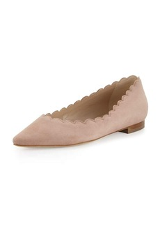 Manolo Blahnik Srila Scalloped Pointed-Toe Flat