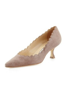 Manolo Blahnik Srilasca Scalloped Suede Pump