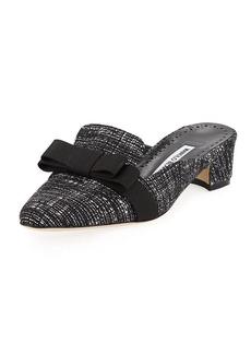 Manolo Blahnik Starato Tweed Loafer Mule