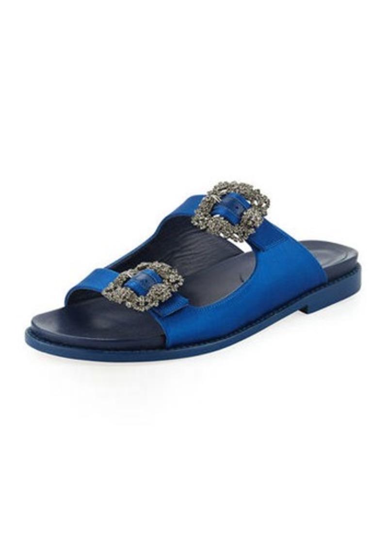 2d14ae0f0c36 SALE! Manolo Blahnik Sturlushangi Satin Slide Sandals