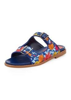 Manolo Blahnik Sturluspla Embroidered Slide Sandal