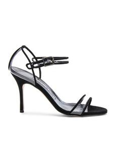 Manolo Blahnik Suede & PVC Fersen 90 Heels