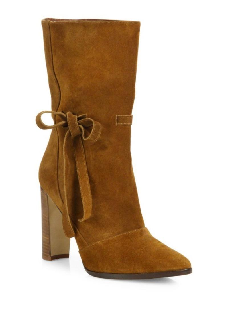 Manolo Blahnik Suede Bow Block Heel Boots