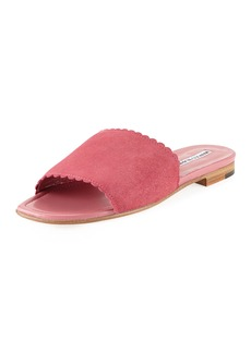 Manolo Blahnik Suede Scalloped Slide Flat Sandal