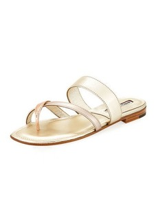Manolo Blahnik Susa Flat Leather Sandal