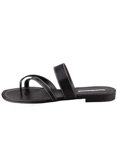 Manolo Blahnik Susa Flat Leather Sandal