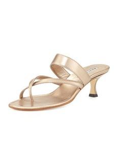 Manolo Blahnik Susa Low-Heel Thong Slide Sandal